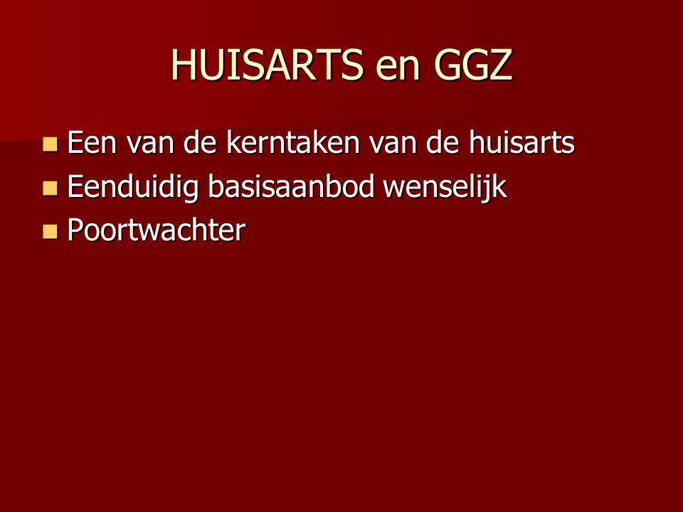 HUISARTS en GGZ Een van de kerntaken van de huisarts Een van de kerntaken van de huisarts Eenduidig basisaanbod wenselijk Eenduidig basisaanbod wensel