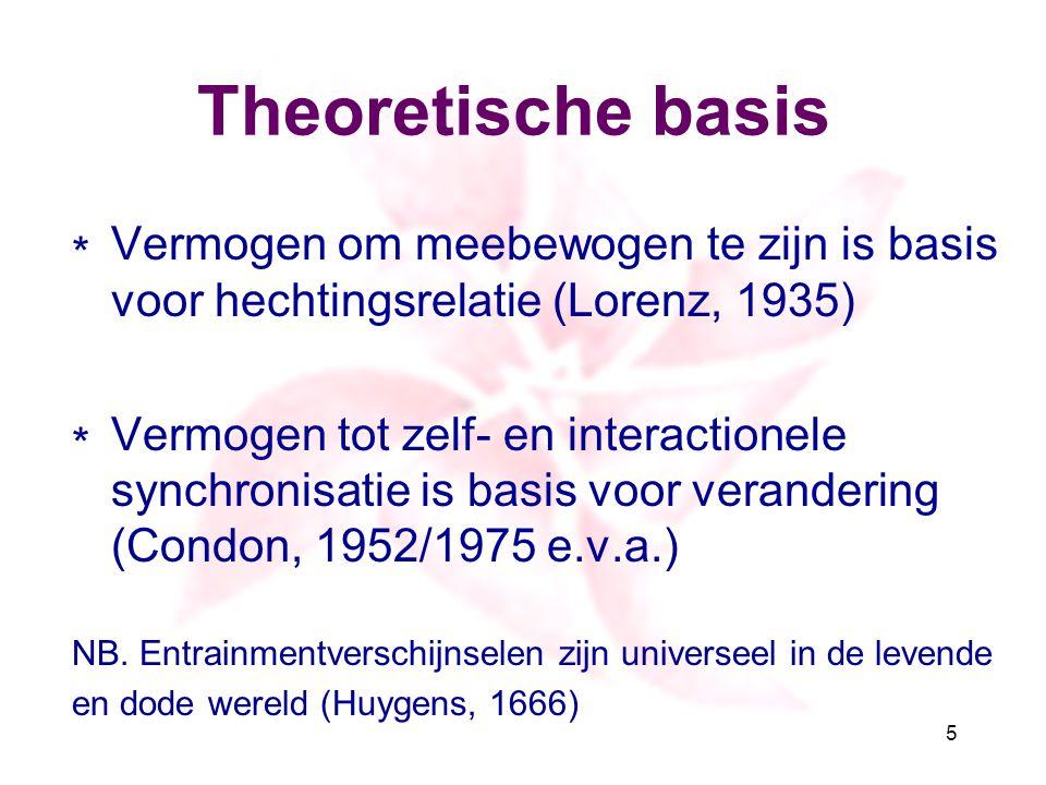 Theoretische basis ∗ Vermogen om meebewogen te zijn is basis voor hechtingsrelatie (Lorenz, 1935) ∗ Vermogen tot zelf- en interactionele synchronisati