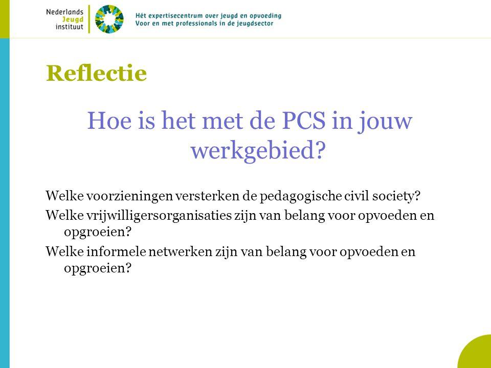 Reflectie Hoe is het met de PCS in jouw werkgebied.