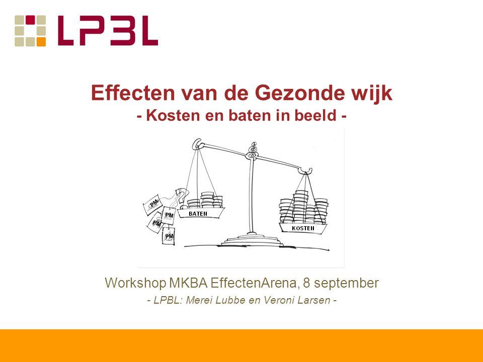 Effecten van de Gezonde wijk - Kosten en baten in beeld - Workshop MKBA EffectenArena, 8 september - LPBL: Merei Lubbe en Veroni Larsen -