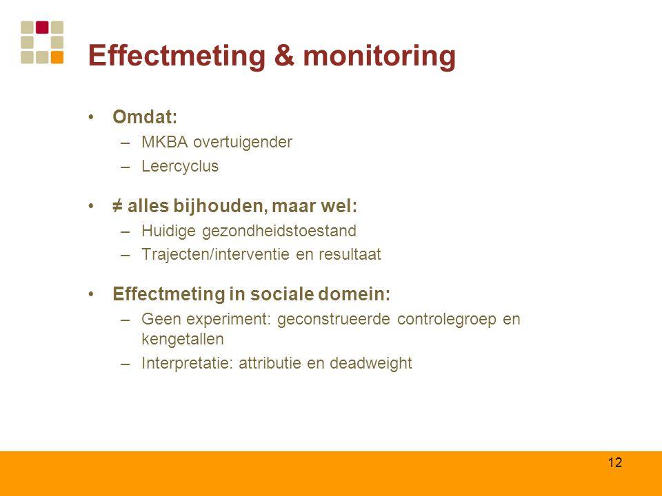 Effectmeting & monitoring Omdat: –MKBA overtuigender –Leercyclus ≠ alles bijhouden, maar wel: –Huidige gezondheidstoestand –Trajecten/interventie en r