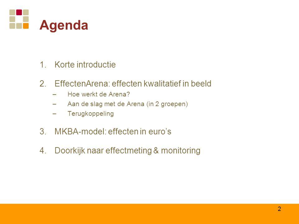 2 Agenda 1.Korte introductie 2.EffectenArena: effecten kwalitatief in beeld –Hoe werkt de Arena? –Aan de slag met de Arena (in 2 groepen) –Terugkoppel