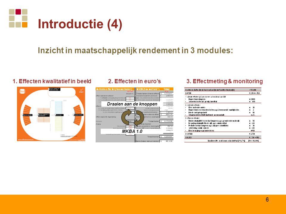 6 Introductie (4) Inzicht in maatschappelijk rendement in 3 modules: 1. Effecten kwalitatief in beeld MKBA 1.0 Draaien aan de knoppen 2. Effecten in e