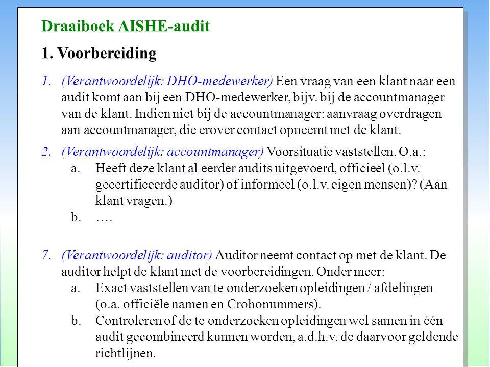 Draaiboek AISHE-audit 1. Voorbereiding 1.(Verantwoordelijk: DHO-medewerker) Een vraag van een klant naar een audit komt aan bij een DHO-medewerker, bi