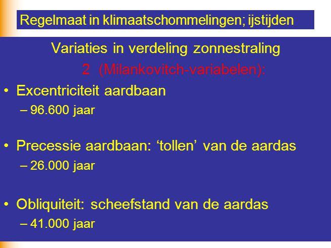 21 Regelmaat in klimaatschommelingen; ijstijden Variaties in verdeling zonnestraling 2(Milankovitch-variabelen): Excentriciteit aardbaan –96.600 jaar