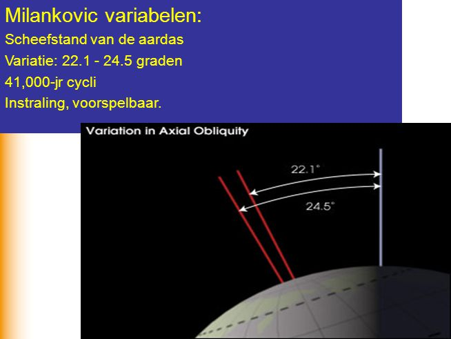 24 Milankovic variabelen: Scheefstand van de aardas Variatie: 22.1 - 24.5 graden 41,000-jr cycli Instraling, voorspelbaar.