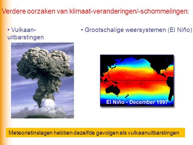 Vulkaan- uitbarstingen Verdere oorzaken van klimaat-veranderingen/-schommelingen: Grootschalige weersystemen (El Niño) Meteorietinslagen hebben dezelf
