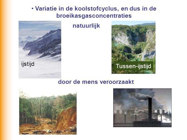 Variatie in de koolstofcyclus, en dus in de broeikasgasconcentraties natuurlijk door de mens veroorzaakt ijstijd Tussen-ijstijd