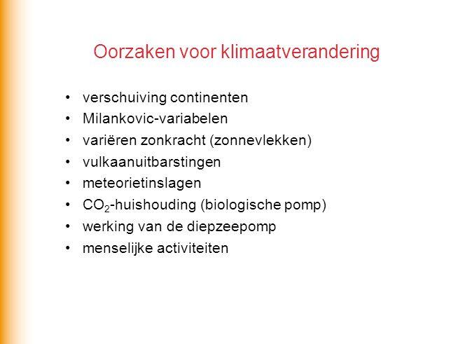 Oorzaken voor klimaatverandering verschuiving continenten Milankovic-variabelen variëren zonkracht (zonnevlekken) vulkaanuitbarstingen meteorietinslag