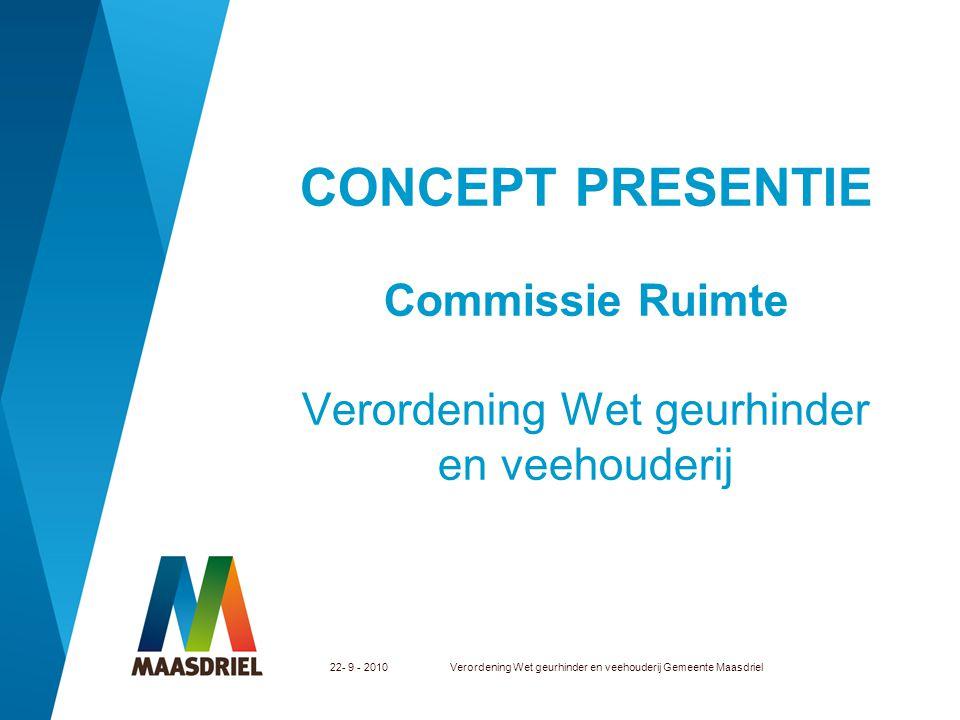 22- 9 - 2010Verordening Wet geurhinder en veehouderij Gemeente Maasdriel CONCEPT PRESENTIE Commissie Ruimte Verordening Wet geurhinder en veehouderij