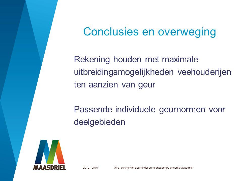 22- 9 - 2010Verordening Wet geurhinder en veehouderij Gemeente Maasdriel Conclusies en overweging Rekening houden met maximale uitbreidingsmogelijkhed