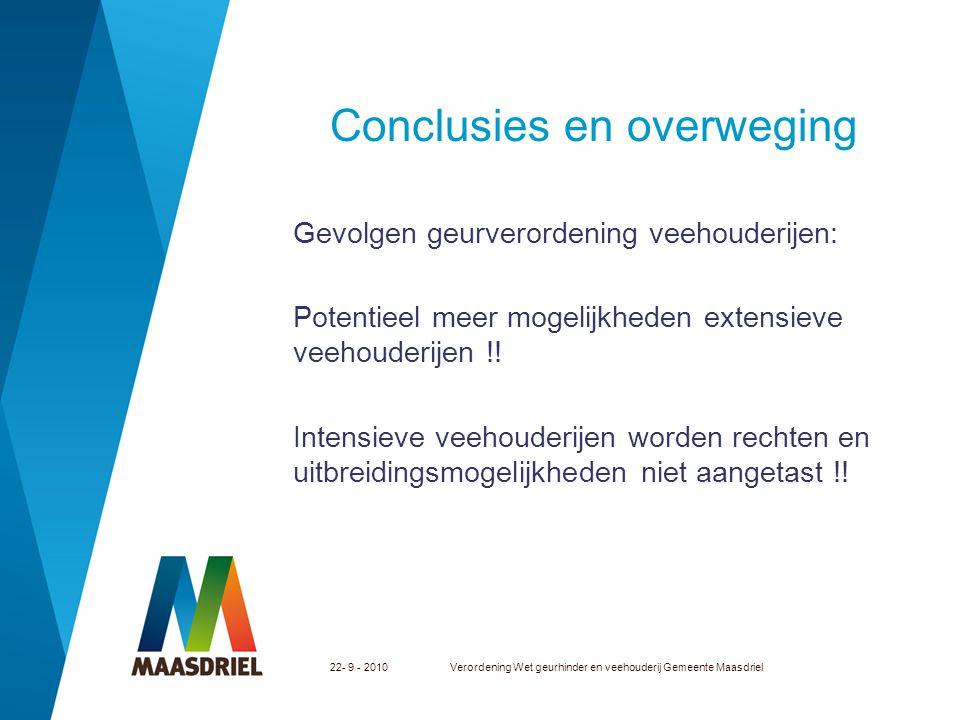 22- 9 - 2010Verordening Wet geurhinder en veehouderij Gemeente Maasdriel Conclusies en overweging Gevolgen geurverordening veehouderijen: Potentieel m