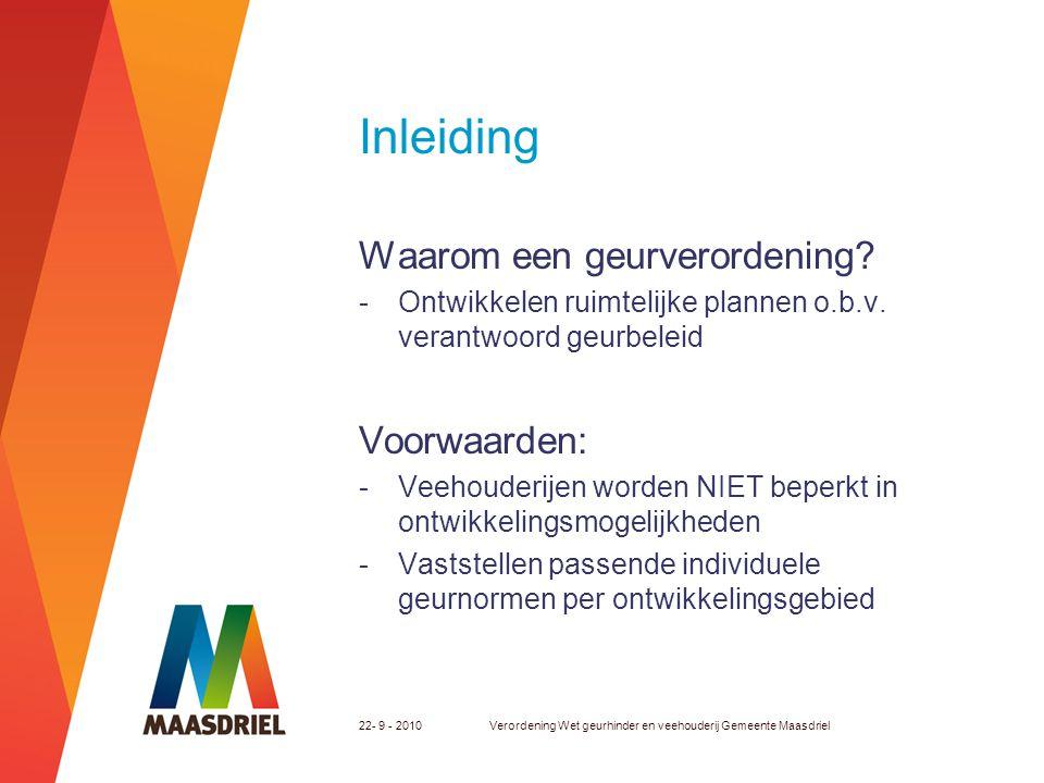 22- 9 - 2010Verordening Wet geurhinder en veehouderij Gemeente Maasdriel Inleiding Waarom een geurverordening? -Ontwikkelen ruimtelijke plannen o.b.v.