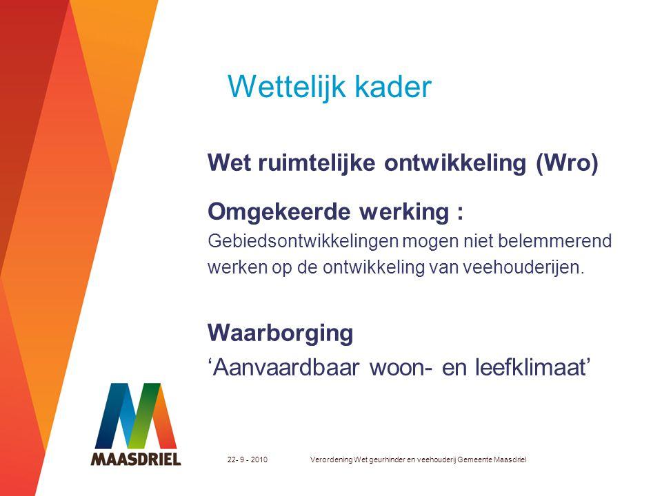Wettelijk kader RO - spoor door bijvoorbeeld: -Aanpassen bouwblok -Beperken gebouwhoogtes 22- 9 - 2010Verordening Wet geurhinder en veehouderij Gemeente Maasdriel