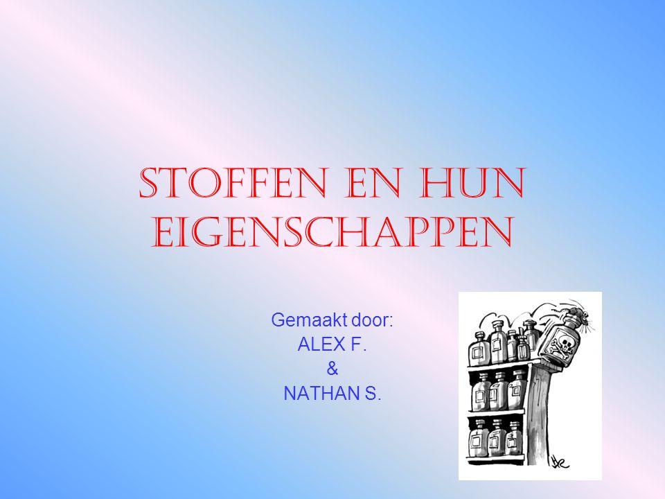 Stoffen en hun eigenschappen Gemaakt door: ALEX F. & NATHAN S.