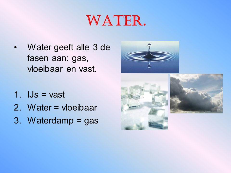Water.Water geeft alle 3 de fasen aan: gas, vloeibaar en vast.