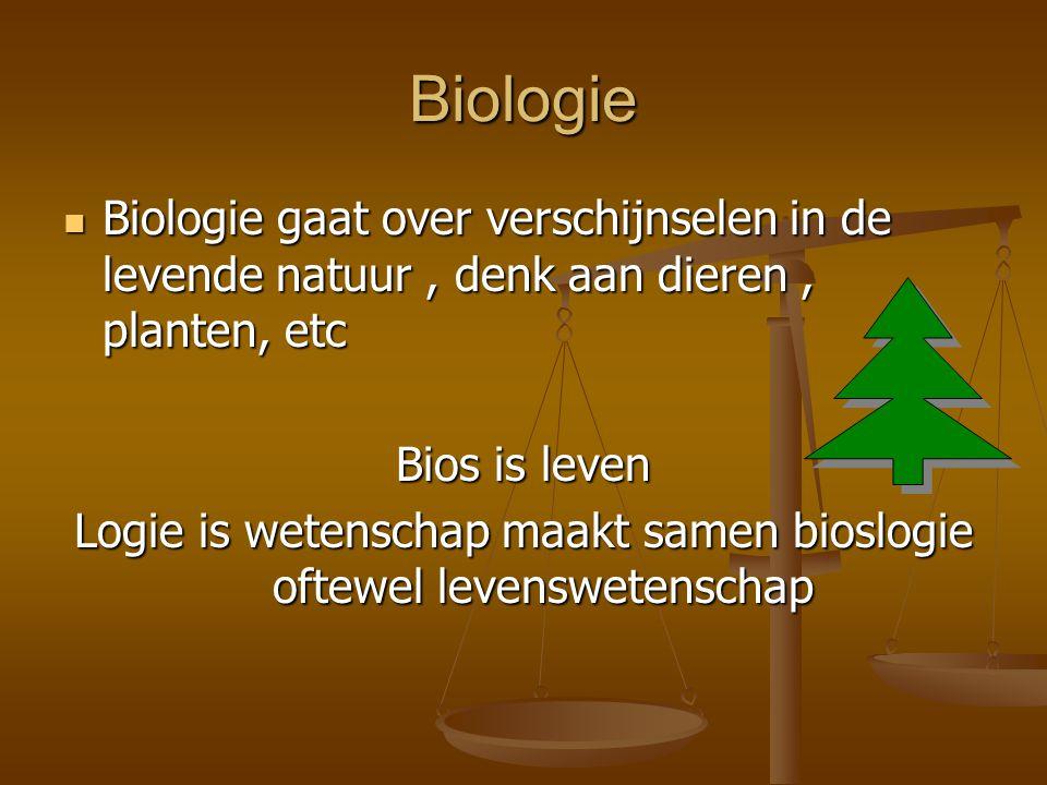 Biologie Biologie gaat over verschijnselen in de levende natuur, denk aan dieren, planten, etc Biologie gaat over verschijnselen in de levende natuur, denk aan dieren, planten, etc Bios is leven Logie is wetenschap maakt samen bioslogie oftewel levenswetenschap