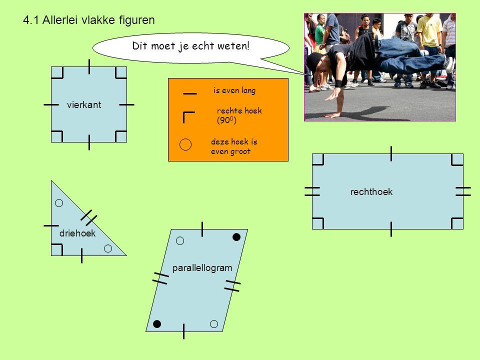 Dit moet je echt weten! 4.1 Allerlei vlakke figuren vierkant rechthoek driehoek is even lang rechte hoek (90 0 ) deze hoek is even groot parallellogra