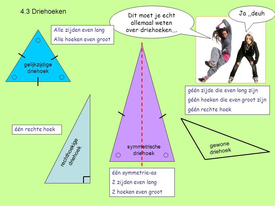 4.3 Driehoeken Dit moet je echt allemaal weten over driehoeken…. Alle zijden even lang Alle hoeken even groot gelijkzijdige driehoek rechthoekige drie