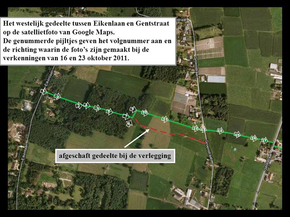 Het westelijk gedeelte tussen Eikenlaan en Gentstraat op de satellietfoto van Google Maps.
