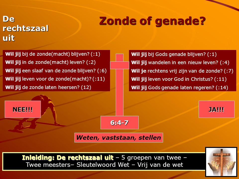 Zonde of genade? Wil jij bij de zonde(macht) blijven? (:1) Wil jij in de zonde(macht) leven? (:2) Wil jij een slaaf van de zonde blijven? (:6) Wil jij