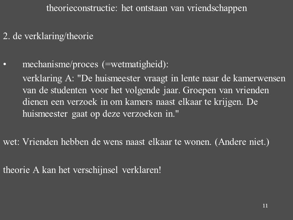 11 theorieconstructie: het ontstaan van vriendschappen 2. de verklaring/theorie mechanisme/proces (=wetmatigheid): verklaring A: