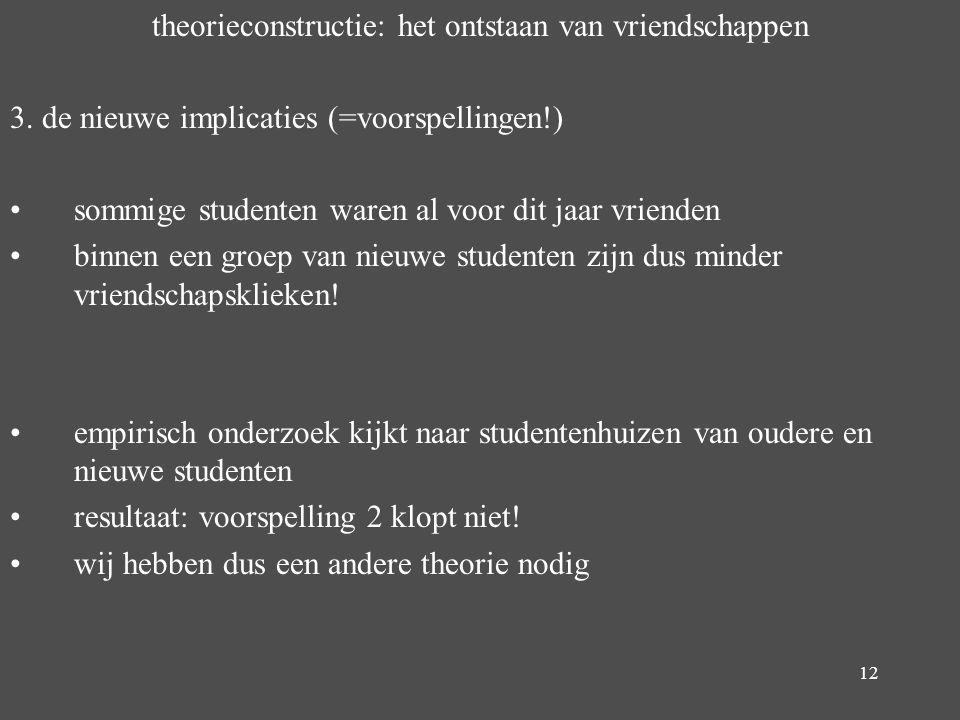 12 theorieconstructie: het ontstaan van vriendschappen 3. de nieuwe implicaties (=voorspellingen!) sommige studenten waren al voor dit jaar vrienden b