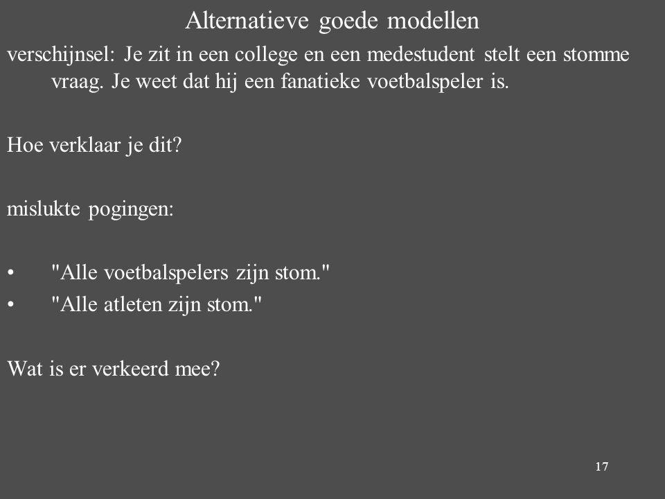 17 Alternatieve goede modellen verschijnsel: Je zit in een college en een medestudent stelt een stomme vraag. Je weet dat hij een fanatieke voetbalspe