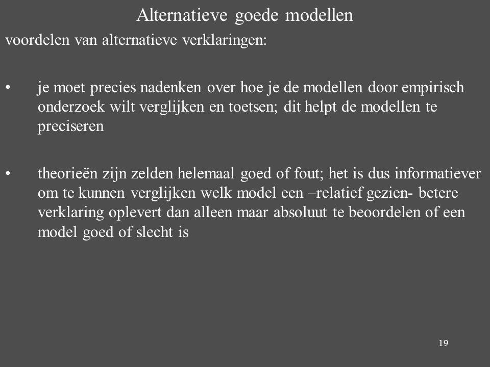 19 Alternatieve goede modellen voordelen van alternatieve verklaringen: je moet precies nadenken over hoe je de modellen door empirisch onderzoek wilt