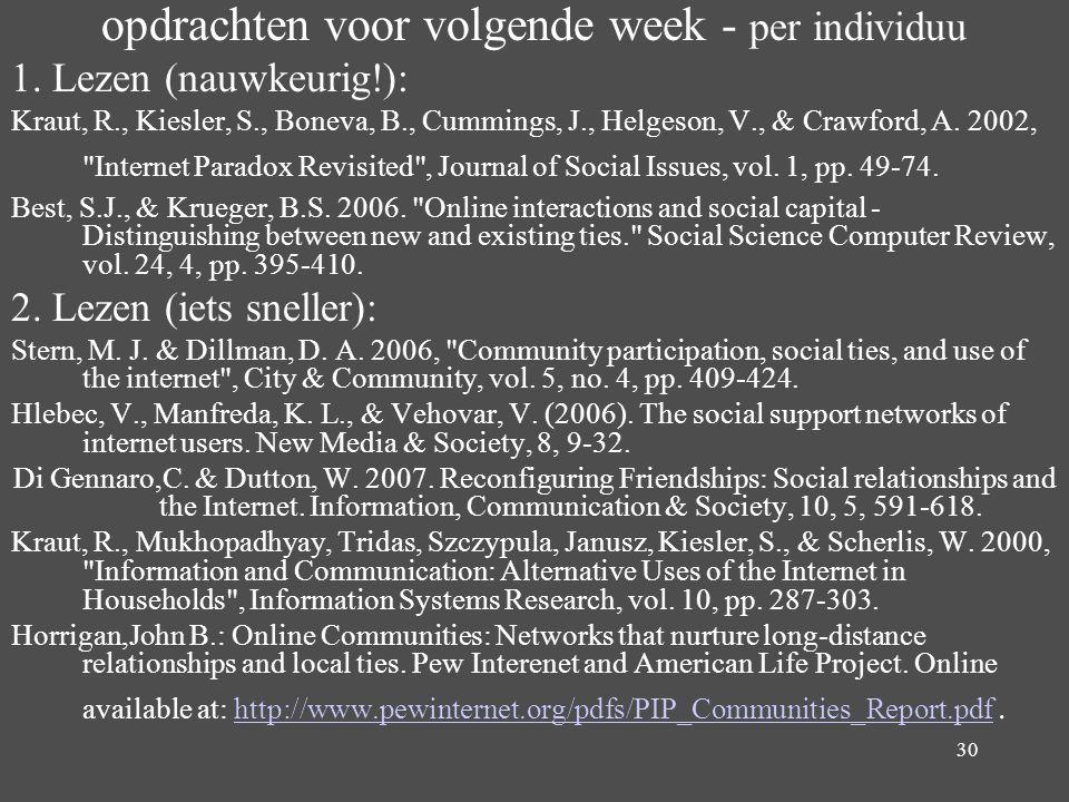 30 opdrachten voor volgende week - per individuu 1. Lezen (nauwkeurig!): Kraut, R., Kiesler, S., Boneva, B., Cummings, J., Helgeson, V., & Crawford, A