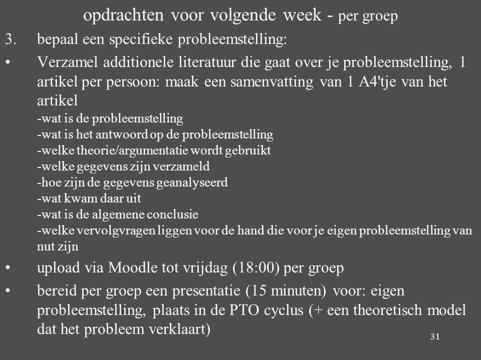 31 opdrachten voor volgende week - per groep 3. bepaal een specifieke probleemstelling: Verzamel additionele literatuur die gaat over je probleemstell