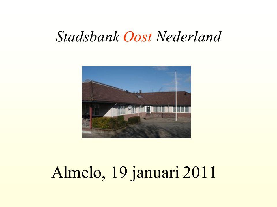 Stadsbank Oost Nederland Almelo, 19 januari 2011