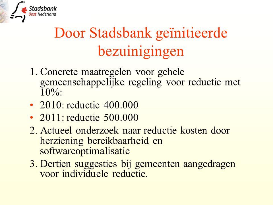 1. Concrete maatregelen voor gehele gemeenschappelijke regeling voor reductie met 10%: 2010: reductie 400.000 2011: reductie 500.000 2. Actueel onderz