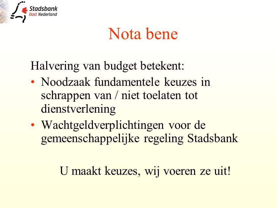 Halvering van budget betekent: Noodzaak fundamentele keuzes in schrappen van / niet toelaten tot dienstverlening Wachtgeldverplichtingen voor de gemeenschappelijke regeling Stadsbank U maakt keuzes, wij voeren ze uit.