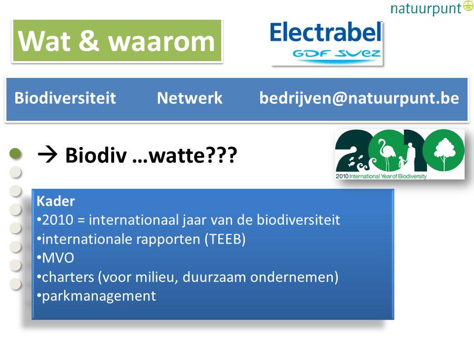  Biodiv …watte??? Kader 2010 = internationaal jaar van de biodiversiteit internationale rapporten (TEEB) MVO charters (voor milieu, duurzaam ondernem