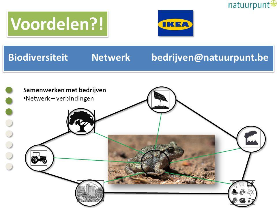 Samenwerken met bedrijven Netwerk – verbindingen BiodiversiteitNetwerkbedrijven@natuurpunt.be Voordelen?!