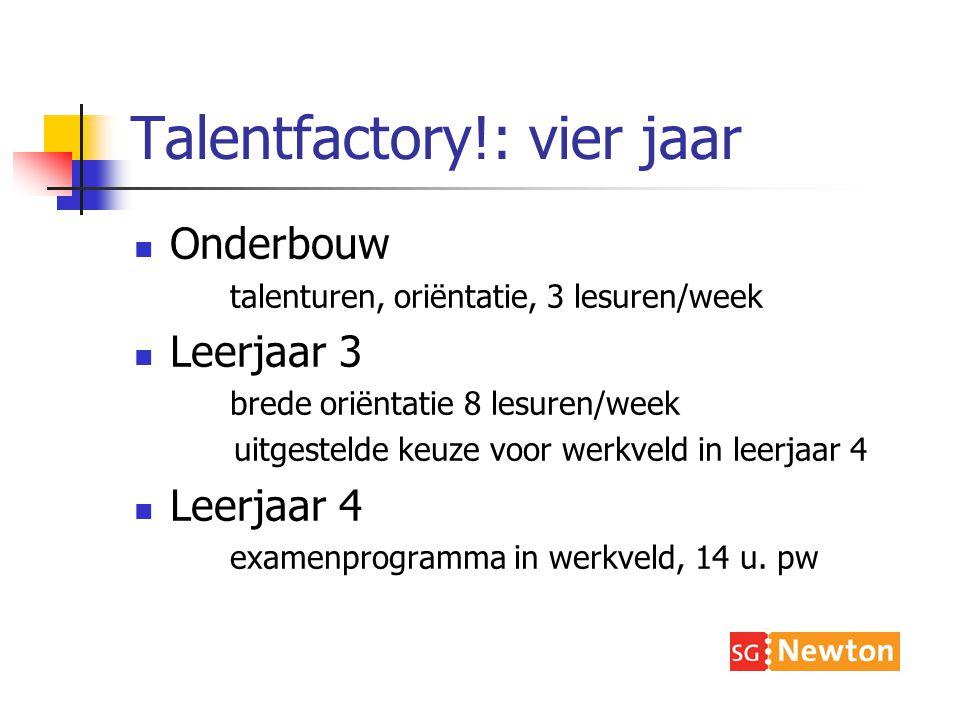 Talentfactory!: vier jaar Onderbouw talenturen, oriëntatie, 3 lesuren/week Leerjaar 3 brede oriëntatie 8 lesuren/week uitgestelde keuze voor werkveld in leerjaar 4 Leerjaar 4 examenprogramma in werkveld, 14 u.