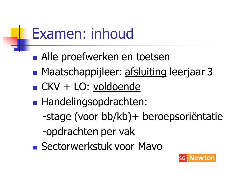 Examen: inhoud Alle proefwerken en toetsen Maatschappijleer: afsluiting leerjaar 3 CKV + LO: voldoende Handelingsopdrachten: -stage (voor bb/kb)+ beroepsoriëntatie -opdrachten per vak Sectorwerkstuk voor Mavo