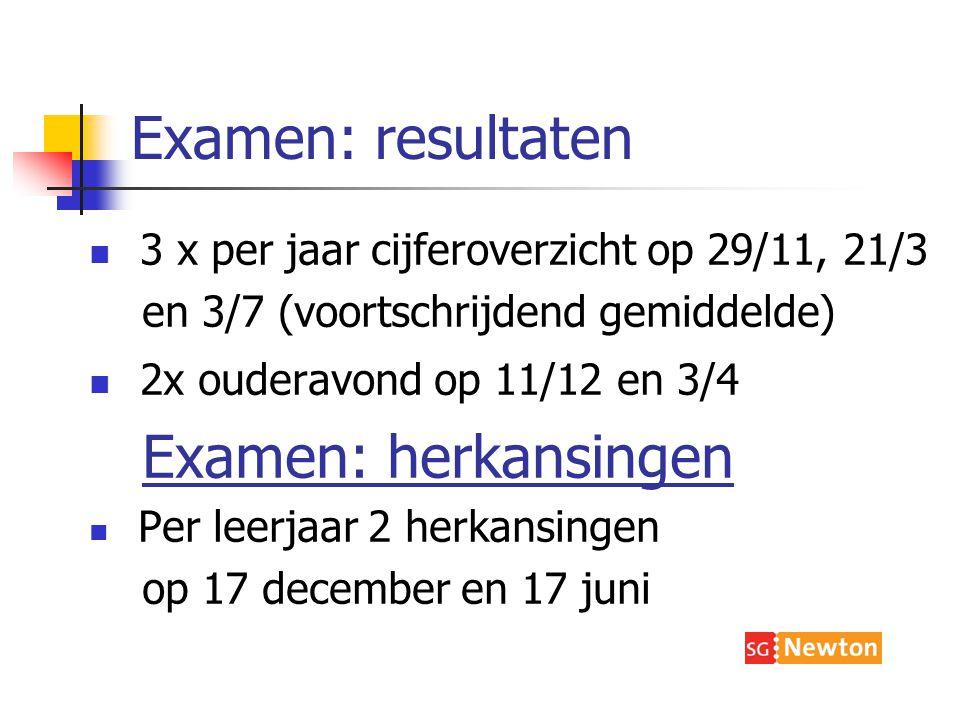 Examen: resultaten 3 x per jaar cijferoverzicht op 29/11, 21/3 en 3/7 (voortschrijdend gemiddelde) 2x ouderavond op 11/12 en 3/4 Examen: herkansingen Per leerjaar 2 herkansingen op 17 december en 17 juni