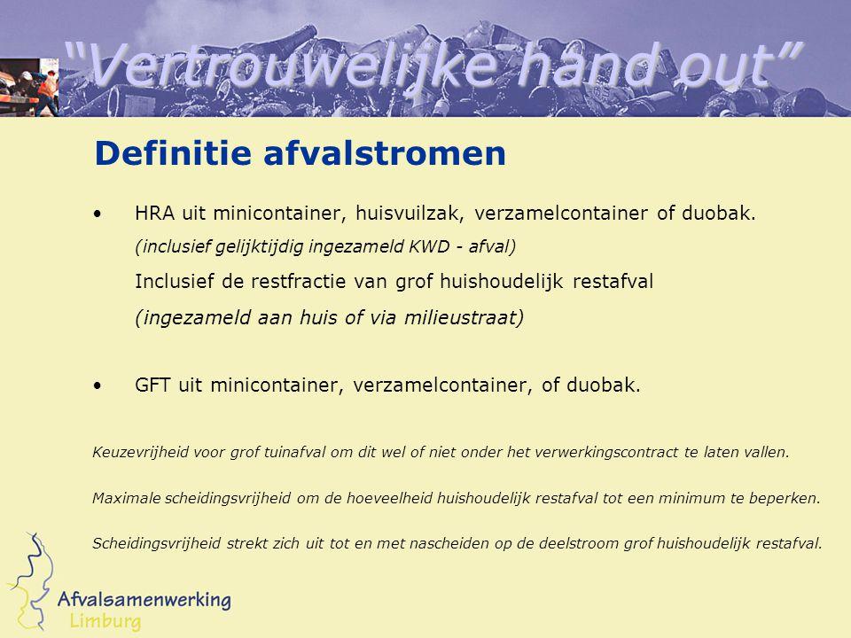 Vertrouwelijke hand out Definitie afvalstromen HRA uit minicontainer, huisvuilzak, verzamelcontainer of duobak.