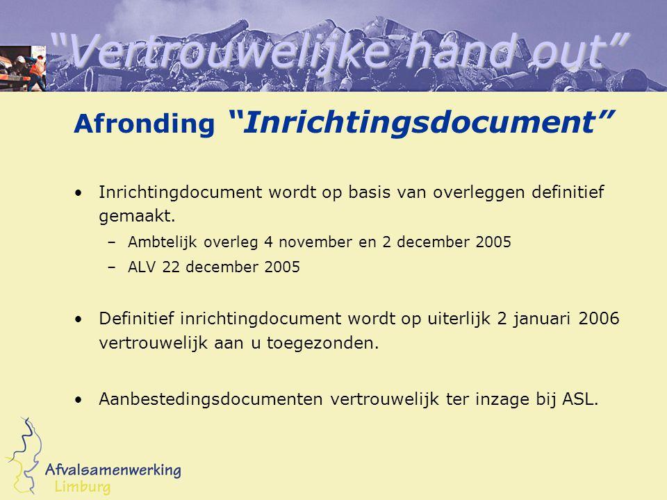 Vertrouwelijke hand out Afronding Inrichtingsdocument Inrichtingdocument wordt op basis van overleggen definitief gemaakt.