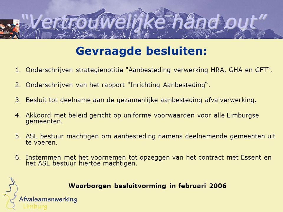 Vertrouwelijke hand out Gevraagde besluiten: 1.Onderschrijven strategienotitie Aanbesteding verwerking HRA, GHA en GFT .