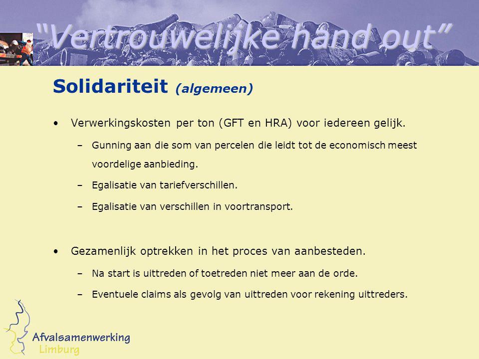 Vertrouwelijke hand out Solidariteit (algemeen) Verwerkingskosten per ton (GFT en HRA) voor iedereen gelijk.