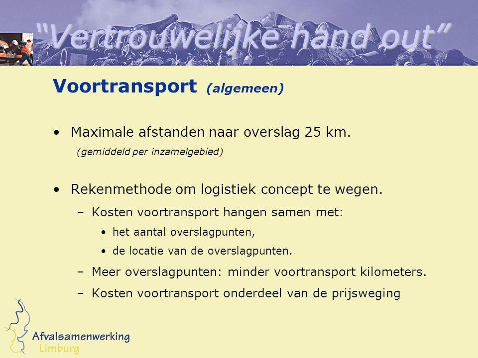 Vertrouwelijke hand out Voortransport (algemeen) Maximale afstanden naar overslag 25 km.