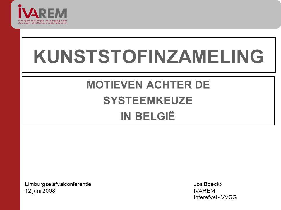 KUNSTSTOFINZAMELING MOTIEVEN ACHTER DE SYSTEEMKEUZE IN BELGIË Limburgse afvalconferentie 12 juni 2008 Jos Boeckx IVAREM Interafval - VVSG