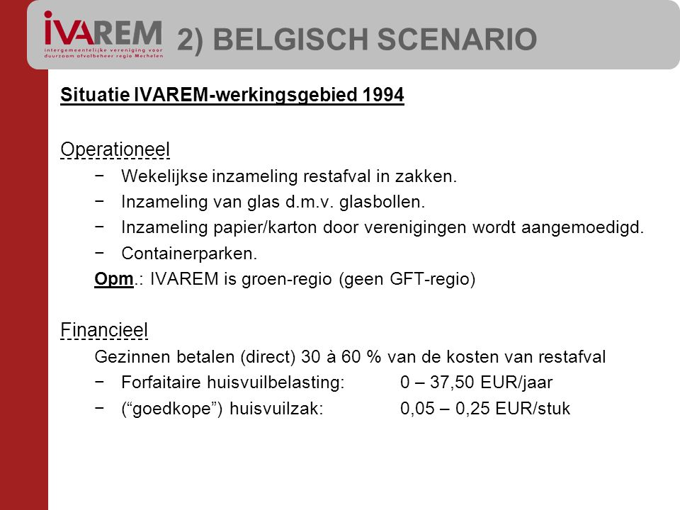 Situatie IVAREM-werkingsgebied 1994 Operationeel −Wekelijkse inzameling restafval in zakken. −Inzameling van glas d.m.v. glasbollen. −Inzameling papie
