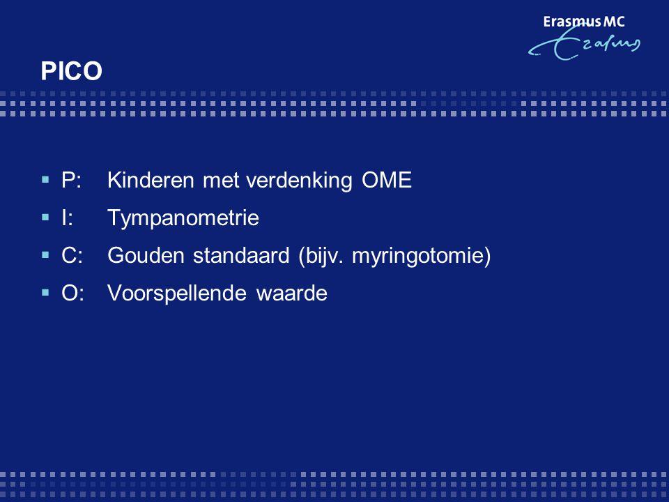 PICO  P: Kinderen met verdenking OME  I: Tympanometrie  C: Gouden standaard (bijv. myringotomie)  O: Voorspellende waarde