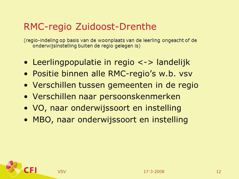17-3-2008VSV12 RMC-regio Zuidoost-Drenthe (regio-indeling op basis van de woonplaats van de leerling ongeacht of de onderwijsinstelling buiten de regio gelegen is) Leerlingpopulatie in regio landelijk Positie binnen alle RMC-regio's w.b.
