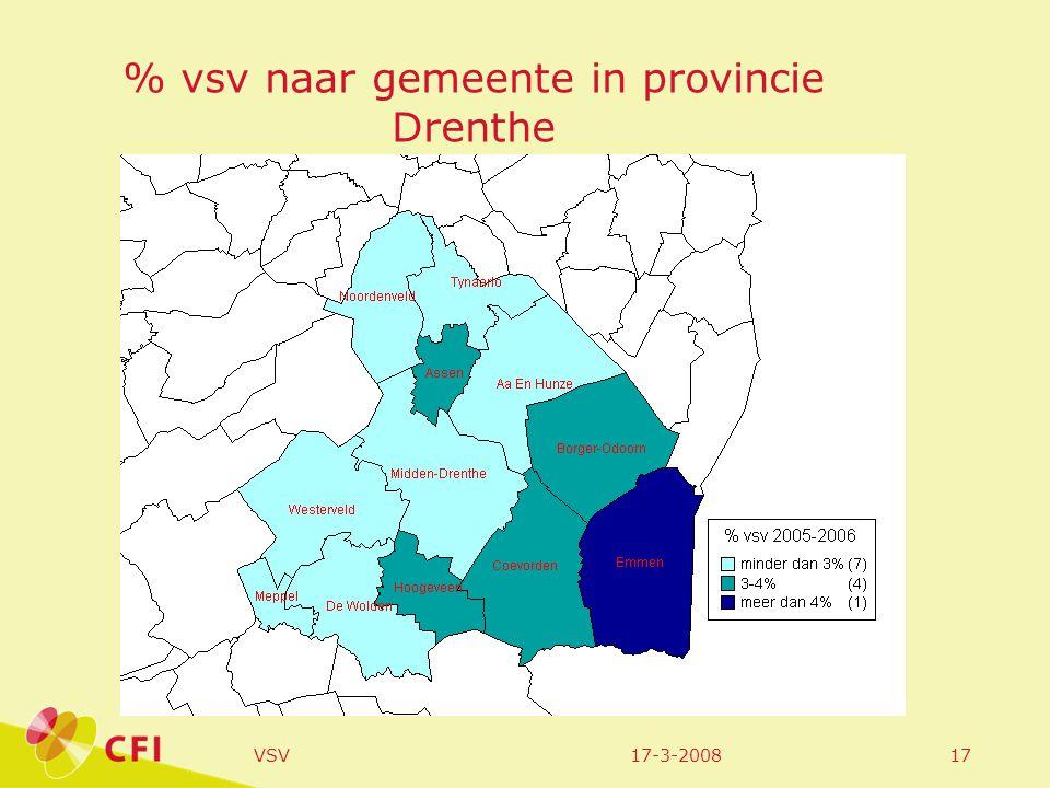 17-3-2008VSV17 % vsv naar gemeente in provincie Drenthe