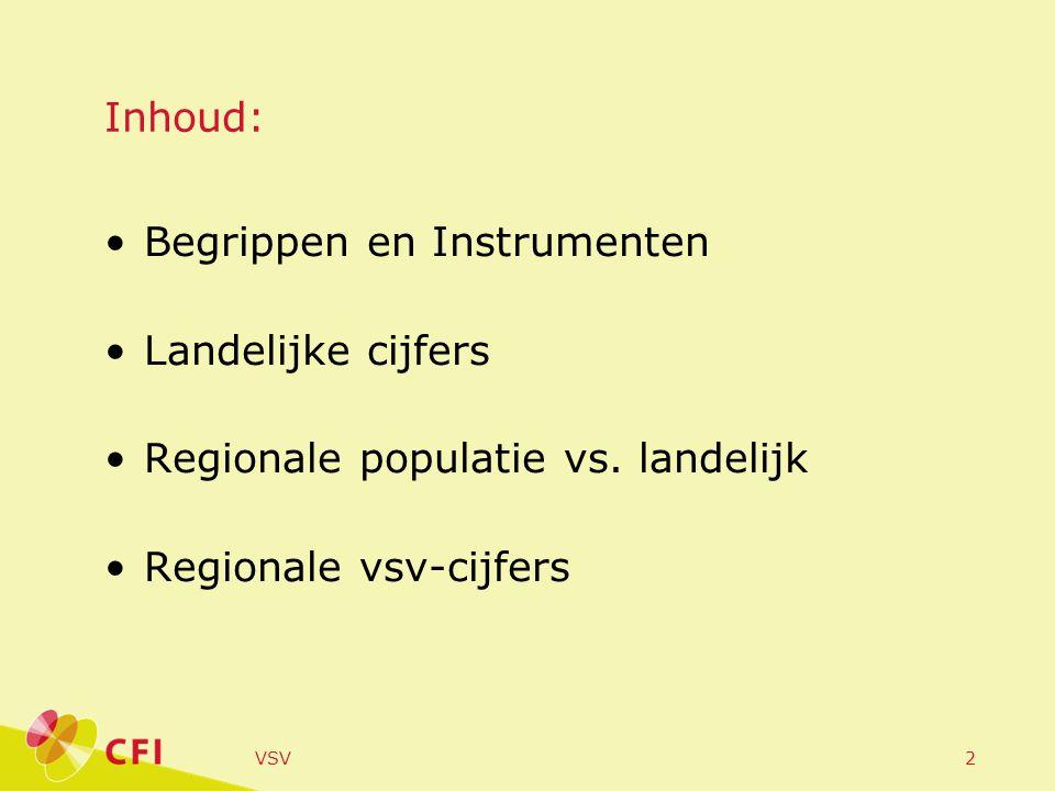 VSV2 Inhoud: Begrippen en Instrumenten Landelijke cijfers Regionale populatie vs. landelijk Regionale vsv-cijfers